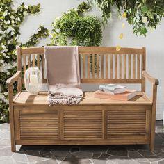 Outdoor Wood Storage Bench Brown Yard Garden Porch Patio Pool Deck Furniture New #OutdoorWoodBench