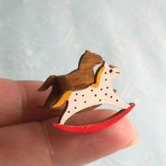 1:24 Half Scale Hand Painted Rocking Horse Toy Doll Rocker - Dollhouse Miniature | eBay