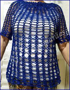 Artesanato com amor...by Lu Guimarães: Blusa Azul em crochê