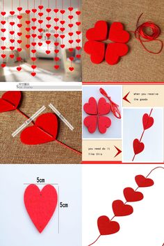 [Visit to Buy] 16 Hearts Love Heart Curtain Romantic Valentine Hearts Ornaments Non-woven Garland For Home Wedding Party Decoration 8Z #Advertisement