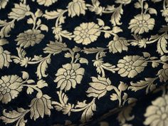 Silk Brocade Fabric Remnant in Black and Gold - Gold Banaras blended Silk Fabric Remnant - Dress Material for Weddings by yard