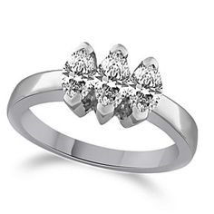 7/8 Carat Marquise Prong 3-Stone Engagement Ring In 10K White Gold # Free Stud Earring by JewelryHub on Opensky