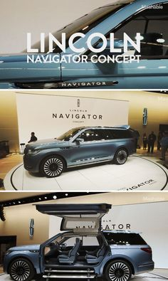 The Lincoln Navigator Concept SUV car features falcon-wing doors and a nautical theme