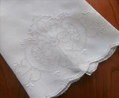 Mosaic Work Towel 1920s Vintage Hand Embroidery Linen