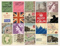 2in VINTAGE LONDON postcards maps ephemera Keep by MagentaBelle, $3.99