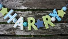 HARRY  WOODEN LETTER NAME DECORATION PERSONALISED SHABBY CHIC BABY NURSERY