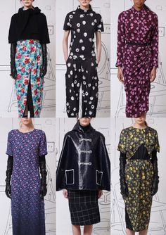 Band of Outsiders A/W 2014/15-Painterly Brush-mark Florals – Cartoon Popcorn Prints – Offset Patterns – Floral Clusters – Background Colour Graduation – Ditzy Florals – Tromp L'oeil Tricks – Dark backgrounds – Artistic Floral Paintings