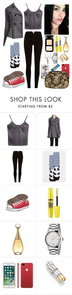 """""""Yesterday's morning with my boyfriend. #ootd"""" by annacastrolima ❤ liked on Polyvore featuring WithChic, Liz Claiborne, River Island, Dorothy Perkins, Converse, Maybelline, Christian Dior, Gucci, Maison Margiela and ootd"""