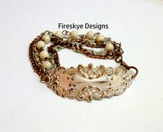 Victoria scroll bracelet - semi precious stone - white Jasper - American made brass - fire torched - silver plated - shabby - cottage chic by FireskyeDesigns on Etsy