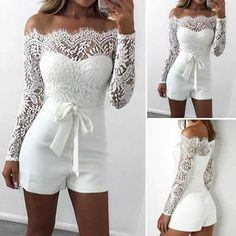 34 Ideas How To Wear White Shorts Summer Wedding Rompers, Wedding Jumpsuit, Dream Wedding Dresses, Prom Dresses, Formal Dresses, Confirmation Dresses, Mode Outfits, Mode Style, Ideias Fashion