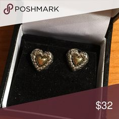 """Brighton Heart Stud Post Earrings Heart shaped Brighton earrings. Inside is a gold heart surrounded by silver with iconic Brighton etching. 5/8"""" at widest. Comes in gift box. Brighton Jewelry Earrings"""