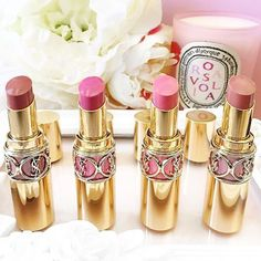 Yves Saint Laurent (YSL) Rouge Volupte Shine Oil-In-Stick Lipsticks are medium coverage with high performance color and shine, conditioning to the lips, packaged super luxuriously, and available in a variety of shades for everyone. These have almost a fruity type scent instead of the rose scent of the Rouge Pur Couture line.