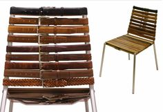Among my favorite Unconsumption posts* is this one on using worn leather belts as new webbing on old lawn chairs. The use of leather belts on the chair pictured above, made by Sao Paolo-based artist. Upcycled Furniture, Diy Furniture, Leather Furniture, Furniture Design, Chair Pictures, Lawn Chairs, Diy Recycle, Chair Upcycle, Recycled Leather