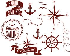 Set of decorative nautical elements vector Swag Ideas, Wind Rose, Nautical Compass, Drawing Sketches, Drawings, Photo Stock Images, Vector Free Download, Free Logo, Logo Templates