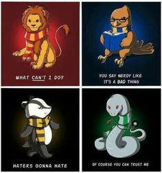 Gryffindor, Hufflepuff, Ravenclaw, and Slytherin.                                                                                                                                                                                 More