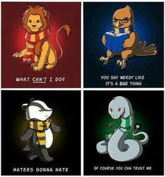 Gryffindor, Hufflepuff, Ravenclaw, and Slytherin.