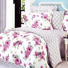 Blancho Bedding - [Rural Rose] Luxury 4PC Comforter Set Combo 300GSM (Twin Size)