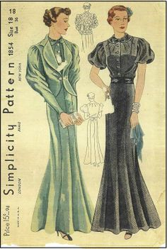 1930s Ladies Gown With Jacket Sewing Pattern - Simplicity #1854
