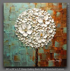 inspiration.. love the geometric background mixed with the floral design. oil paintings, white blossom, contemporary oil painting, tree abstract, art, lollipop tree, lollipops, origin white, blossoms