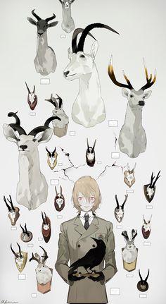 Note how the wall cracks seem like antlers over his head Anime Yugioh, Anime K, Anime Body, Anime Pokemon, Anime Plus, Character Illustration, Illustration Art, Animal Drawings, Art Drawings