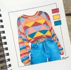 Dress Design Sketches, Fashion Design Drawings, Fashion Sketches, Cool Art Drawings, Art Drawings Sketches, Colorful Drawings, Horse Drawings, Drawing Art, Fashion Illustration Dresses
