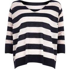I'm shopping Navy stripe split back linen top in the River Island iPhone app.