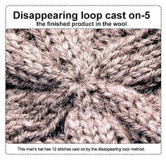 Knitting: casting on from the middle--disappearing loop method. Try making a hat on 2 circ. needles starting from the top and knitting to the brim. Knitting Help, Knitting Stiches, Loom Knitting, Crochet Stitches, Hand Knitting, Knitting Patterns, Knitting Needles, Manta Crochet, Knit Or Crochet