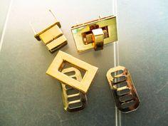 Catches Latches - Gold Plain Rectangular Purse Turn Lock 26mm x 16mm  #Jaszitupleatheraccents