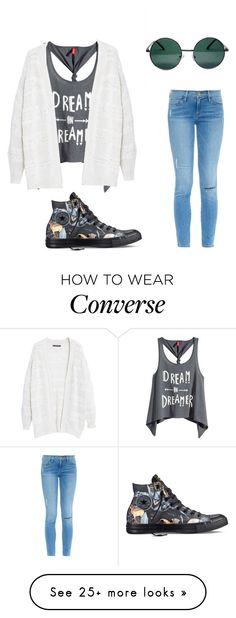 """Dream on Dreamer"" by destinyador on Polyvore featuring YHF, H&M, Frame Denim, Converse and Violeta by Mango"