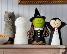 handmade DIY halloween decorations witch vampire mummy werewolf Halloween decorations. Super cute.