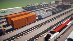 A tutorial on how to make different rail car designs in Minecraft for freight trains. Minecraft Modern City, Minecraft City Buildings, Minecraft Architecture, How To Play Minecraft, Minecraft Houses, Minecraft Creations, Minecraft Designs, Minecraft Construction, Video Game Rooms