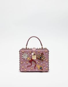 DAUPHINE LEATHER DOLCE BOX BAG WITH APPLIQUÉS