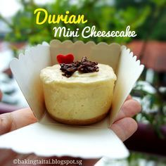 Baking Taitai 烘焙太太: Non-bake Mini Durian Cheesecake - Blog's 2nd anniversary 免烤迷你榴莲芝士蛋糕 - 部落格两周年(中英食谱教程)
