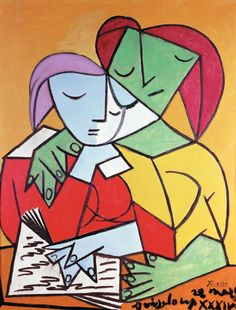Two Girls Reading Pablo Picasso (Spain, Oil on canvas. University of Michigan Museum of Art. Picasso chose to depict this quiet and contemplative subject with strident colors and. Kunst Picasso, Art Picasso, Picasso Paintings, Cubist Movement, Guernica, Girl Reading, Reading Art, Reading Books, Art Moderne