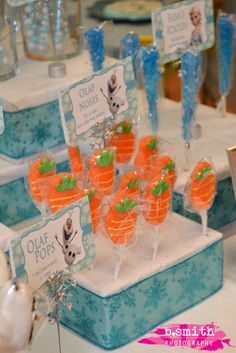 Candy carrot noses for Olaf at a Frozen Birthday Party!  See more party ideas at CatchMyParty.com!