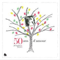 arbre de mots empreintes personnalis avec un texte et 1 image ici - Texte 50 Ans De Mariage Noces D Or