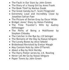 Book list!  I haven't read most of these but I love the ones I have read.