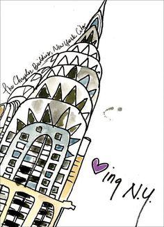 Loving New York! The Chrysler Building. Watercolour Art. Homemeade Cards. Xtal Art Studios, unique art and graphic design.