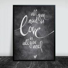 'All You Need Is Love' plakat/poster fra Prik & Streg www.prikogstreg.dk