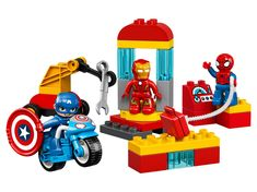 Buy LEGO DUPLO Super Heroes: Super Heroes Lab today at IWOOT. Lego Marvel, Marvel Avengers Movies, Marvel Heroes, Captain America Motorcycle, Captain America Toys, Lego Duplo, Construction Toys For Toddlers, Dc Comics, Spiderman