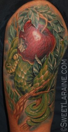 Snake Apple tattoo by Sweet Laraine of San Antonio, TX Sin Tattoo, Snake Tattoo, Tattoo You, Badass Tattoos, Great Tattoos, Girl Tattoos, Apple Tattoo, Paradise Tattoo, Worlds Best Tattoos