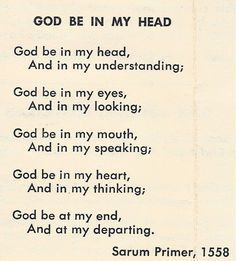 Prayer Daily:Prayer for God be in my Head - Amen. Bible Scripture ✞ - Christian Quote thought