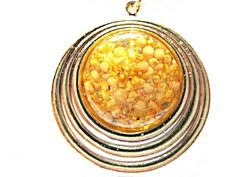 Multi Level Round Gold Toned Pendant  Seeds by AllYouNeedIsBeads, $16.99