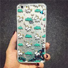 maycari® la licorne dans le ciel paillettes sable mouvant motif en étoile pc transparent cas pour 6s iphone 6 / iphone