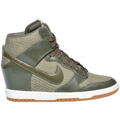 Nike Dunk Sky Sneakers ($81) ❤ liked on Polyvore featuring shoes, sneakers, hidden wedge shoes, leather trainers, round cap, hidden wedge sneakers and nike trainers