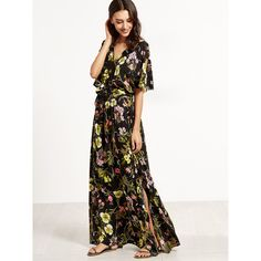 SheIn(sheinside) Floral Print Split V Neck Wrap Maxi Dress (37 CAD) ❤ liked on Polyvore featuring dresses, maxi dresses, white v neck dress, white maxi dress, beach dresses and v-neck maxi dresses