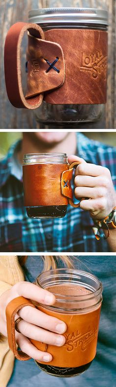 Mason jar travel mug with leather cozy handle #product_design