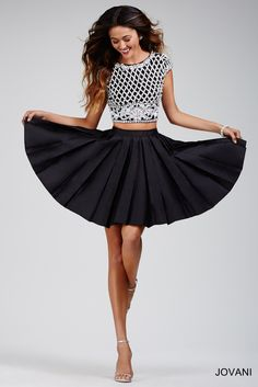 Jovani 27063 Two-Piece Pleated Skirt Short Dress Two Piece Short Dress, Black Two Piece, Cocktail Dresses Online, Short Cocktail Dress, Short Skirts, Short Dresses, Jovani Dresses, Homecoming Dresses, Prom