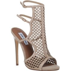STEVE MADDEN Mayline Cut Out Sandal Natural Suede ($110) ❤ liked on Polyvore featuring shoes, sandals, taupe suede, steve madden sandals, cutout shoes, heels stilettos, adjustable shoes y stilettos shoes