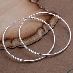 Encontre mais Brinco argola Informações sobre Hoop prateado brincos grandes para…